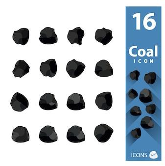 Kolekcja ikony węglowe