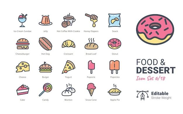 Kolekcja ikony wektor żywności i deserów
