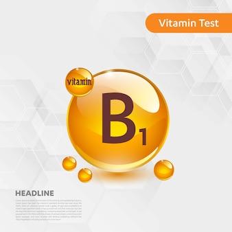 Kolekcja ikony witaminy b1 ilustracji wektorowych złote jedzenie kropla