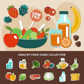 Kolekcja ikony zdrowego odżywiania