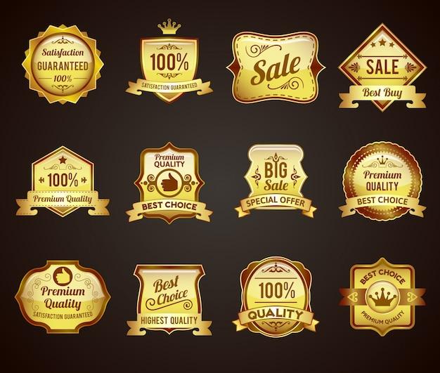 Kolekcja ikony złote etykiety sprzedaży