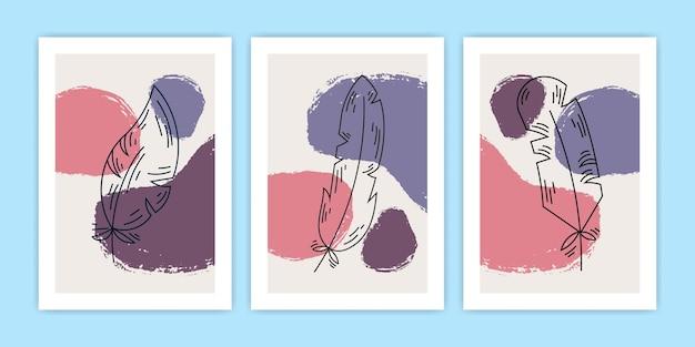 Kolekcja ilustracji abstrakcyjne pióro plakat