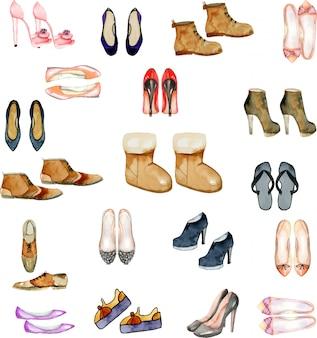 Kolekcja ilustracji buty akwarela