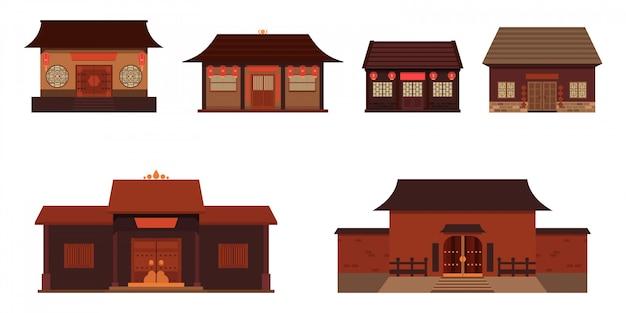 Kolekcja ilustracji chińskich domów