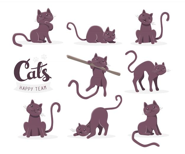 Kolekcja ilustracji cute ciemny kot w różnych pozach