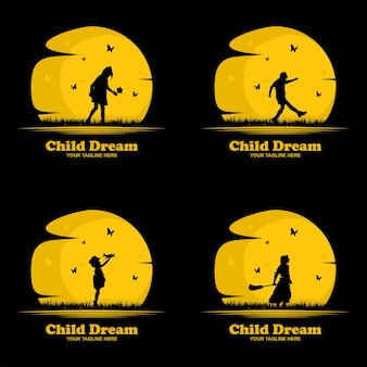 Kolekcja ilustracji do projektowania logo dla dzieci