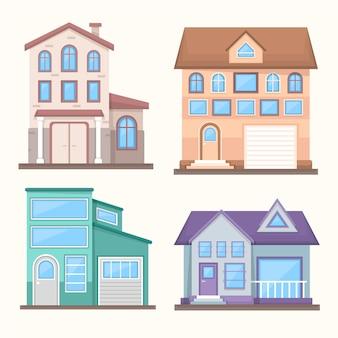 Kolekcja ilustracji domu płaska konstrukcja