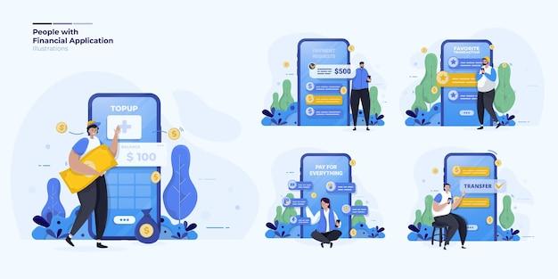Kolekcja ilustracji dotyczy osób korzystających z płatności finansowej