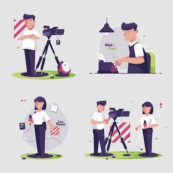 Kolekcja ilustracji dziennikarza