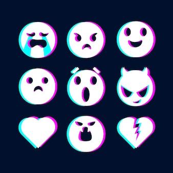 Kolekcja ilustracji emoji glitch