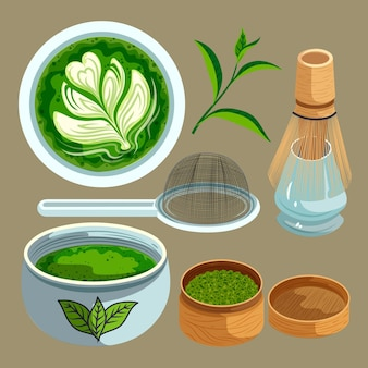 Kolekcja ilustracji herbaty matcha