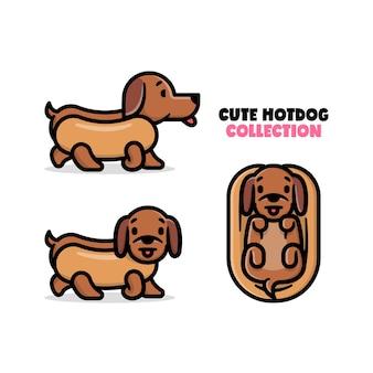 Kolekcja ilustracji kartonowych ślicznych piesów noszących bun kostum