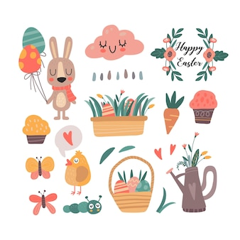 Kolekcja ilustracji kawaii ładny czas wiosny