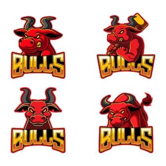 Kolekcja ilustracji logo byka