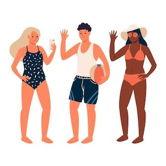Kolekcja ilustracji ludzi plaży
