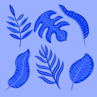 Kolekcja ilustracji monochromatycznych liści tropikalnych