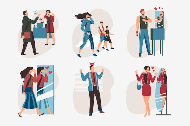 Kolekcja ilustracji o wysokiej samoocenie z ludźmi