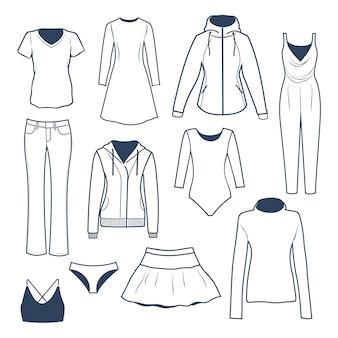 Kolekcja ilustracji odzieży damskiej