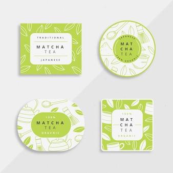 Kolekcja ilustracji odznaki herbaty matcha