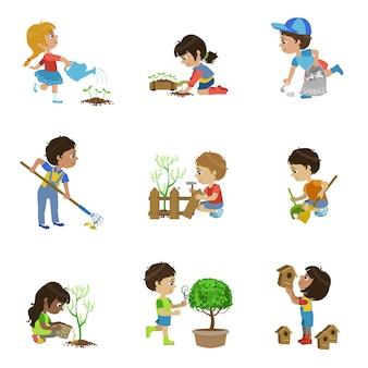 Kolekcja ilustracji ogrodnictwo dla dzieci