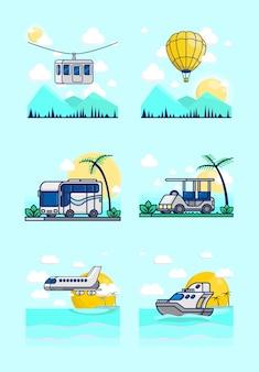 Kolekcja ilustracji pojazdów. w tym tramwaj powietrzny, balon na gorące powietrze, autobus, wózek golfowy, samolot i łódź wycieczkowa.