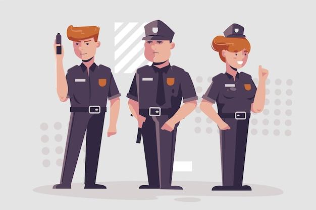 Kolekcja ilustracji policji