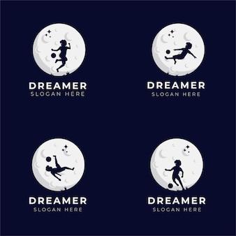 Kolekcja ilustracji projektowania logo marzeń dziecka - dreamer logo - dream illustration - reach dream