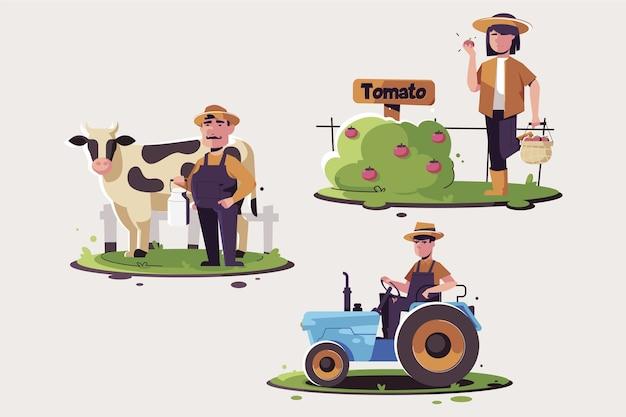 Kolekcja ilustracji rolników