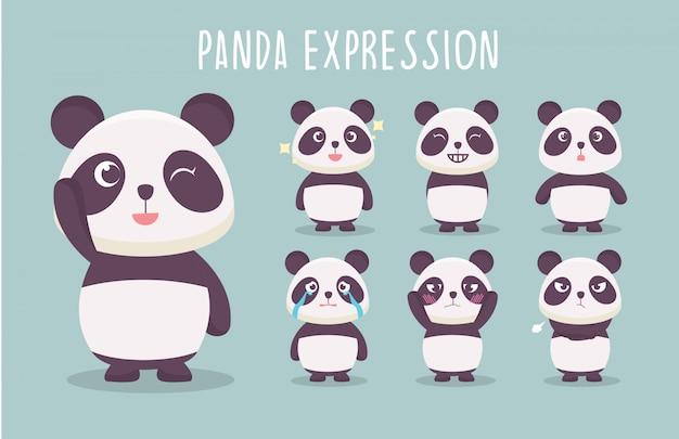 Kolekcja ilustracji słodkie wyrażenie panda