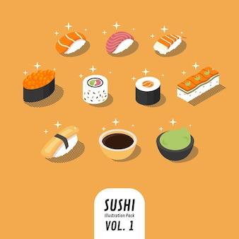 Kolekcja ilustracji sushi, wykonana w perspektywie izometrycznej z uroczym i musującym stylem