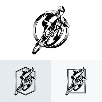 Kolekcja ilustracji szablonu projektu logo rower górski