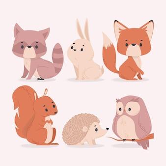 Kolekcja ilustracji uroczych zwierzątek