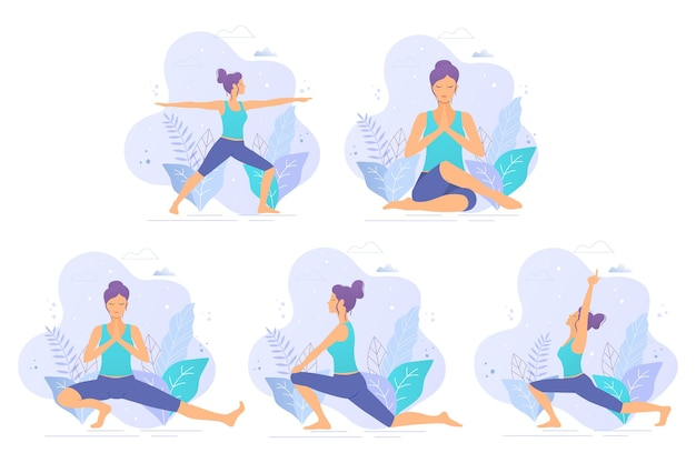 Kolekcja ilustracji wektorowych jogi. joga dziewczyna w ilustracji wektorowych parku. zdrowy tryb życia.