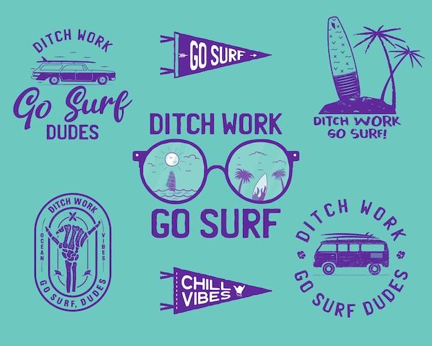 Kolekcja ilustracji wektorowych z inspirującymi napisami ditch work go surf