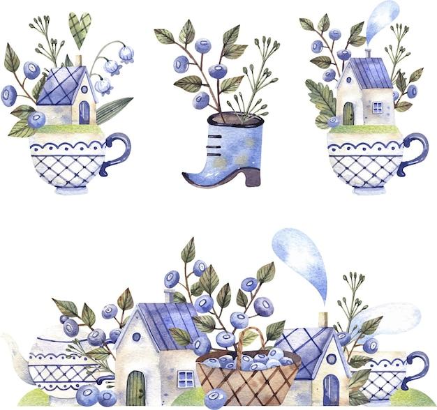 Kolekcja ilustracji wiejskich domów małe domy z koszem jagód