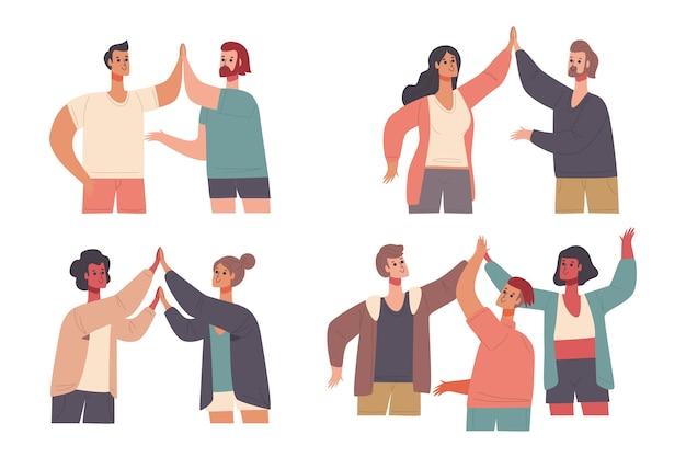 Kolekcja ilustracji z ludźmi dającymi piątkę