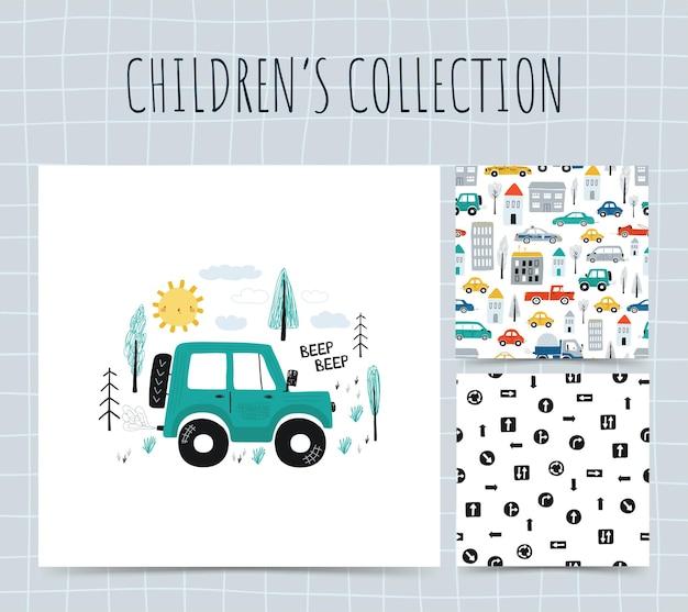 Kolekcja ilustracji z samochodami.