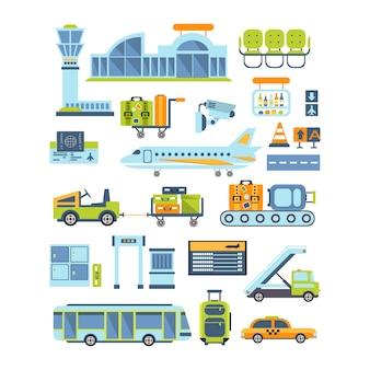 Kolekcja ilustracji związanych z lotniskiem