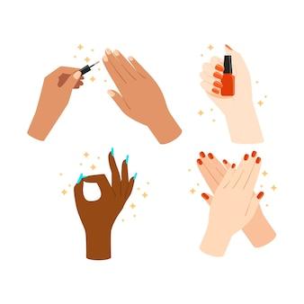 Kolekcja ilustrowanych pozycji do manicure