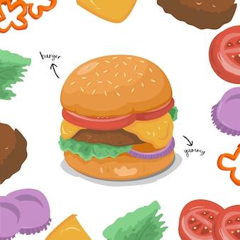 Kolekcja ilustrowanych składników burgera