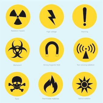 Kolekcja ilustrowanych znaków ostrzegawczych