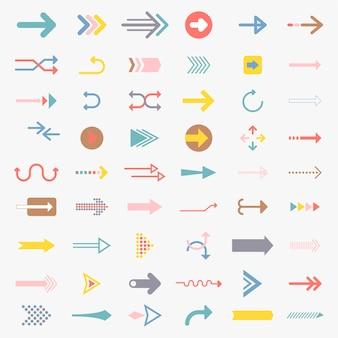 Kolekcja ilustrowanych znaków strzałki