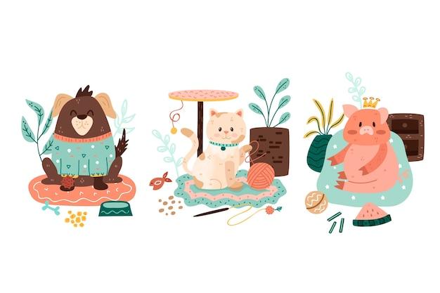 Kolekcja ilustrowanych zwierząt domowych