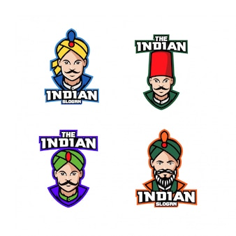 Kolekcja indyjski szef kuchni postać logo ikona kreskówka projekt
