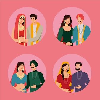 Kolekcja indyjskich postaci ślubnych