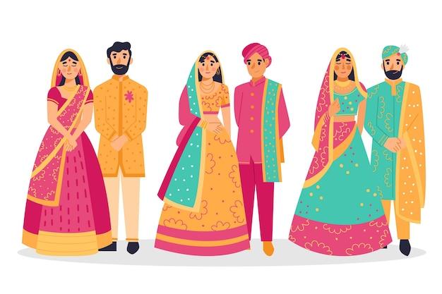 Kolekcja Indyjskich Postaci ślubnych Darmowych Wektorów