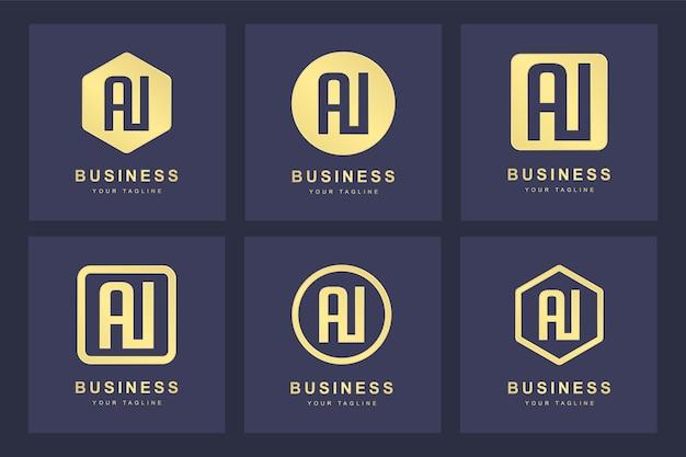 Kolekcja inicjałów logo ai ai złota w kilku wersjach