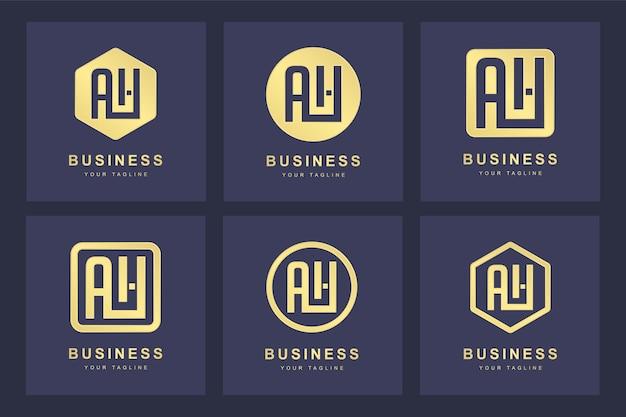 Kolekcja inicjałów logo litera ah ah złota w kilku wersjach