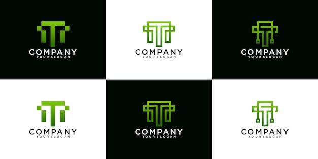 Kolekcja inicjałów logo t technologia danych