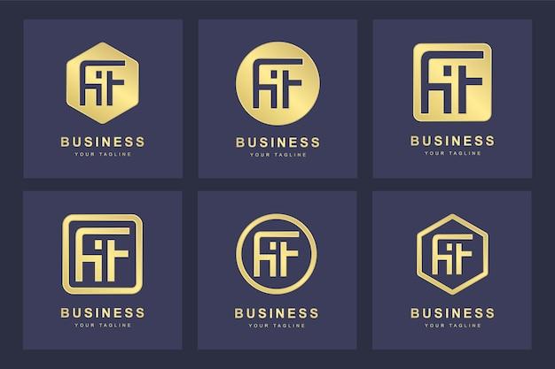 Kolekcja inicjałów logo w literę af af gold w kilku wersjach